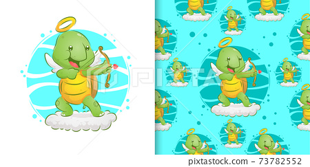 Hand drawn of the angel turtle holding the love arrow on the cloud in the set pattern 73782552
