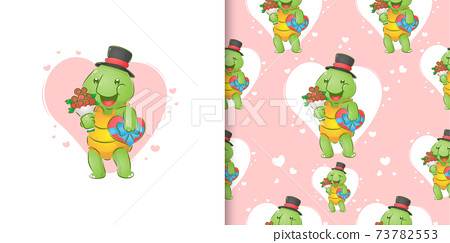 The turtle with the hat is holding the bucket of flowers and a gift love 73782553