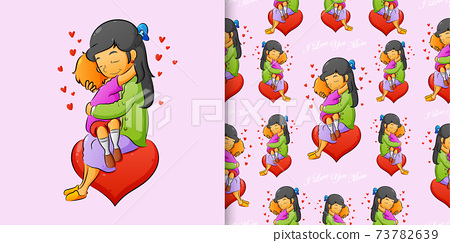 Hand draw seamless pattern of the women hugging her son with love 73782639