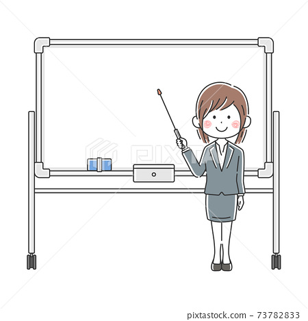 Illustration of a Japanese business woman explained on a whiteboard 73782833