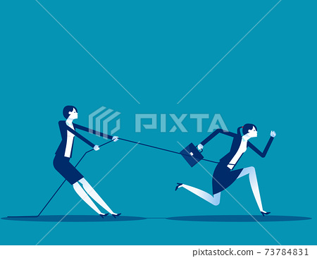 Business person uses a rope to pull his companion. Competition 73784831