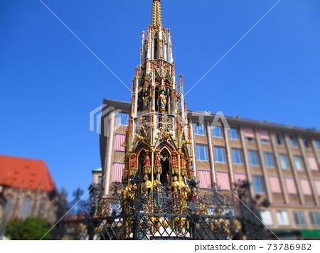 Nuremberg, Germany Beautiful fountain diorama style 73786982