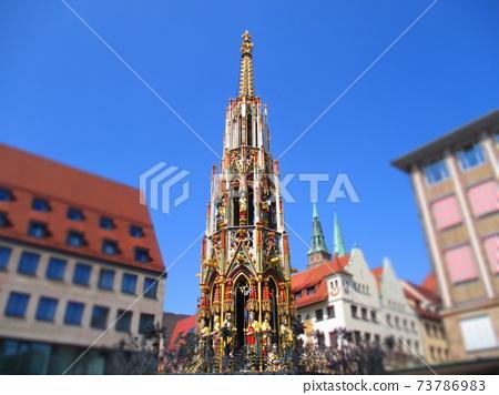 Nuremberg, Germany Beautiful fountain diorama style 73786983