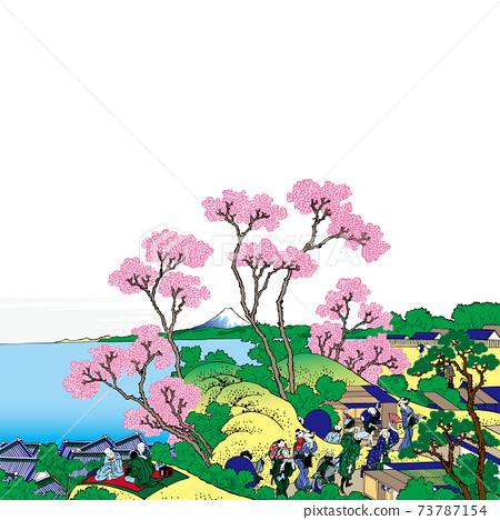 가쓰 시카 호쿠사이 이미지 도카이도 시나가와 고텐 야마 노 후지 밝은 버전 정사각형 흰색 배경 73787154