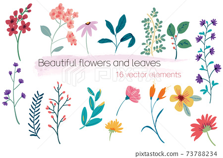 Beautiful vector flowers and leaves 73788234