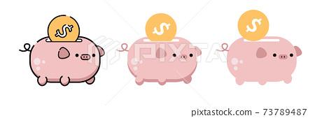 Saving money to piggy bank Vector. Alph 73789487