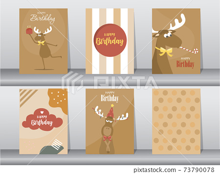 Set of cute birthday cards,poster,template,greeting card,animal,Vector illustrations 73790078