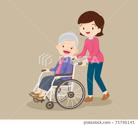 caring woman and grandmother sitting on wheelchair 73790145