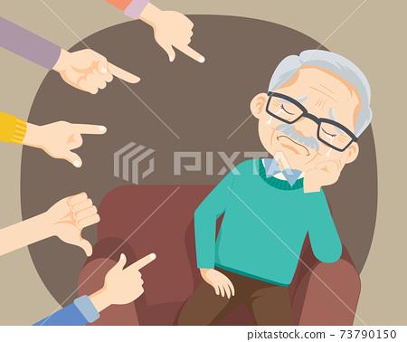 Sad Elderly man being bullied 73790150