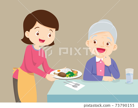 mother serving food to elderly woman 73790155