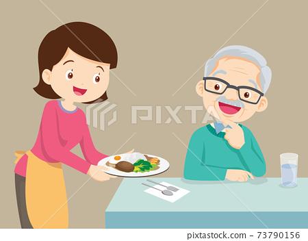 mother serving food to elderly man 73790156