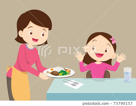 mother serving food to daughter 73790157