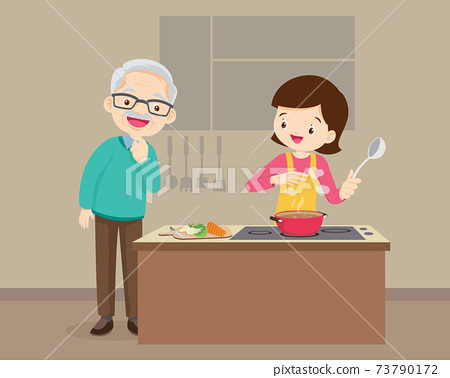 elderly man looking to woman cooking in kitchen 73790172