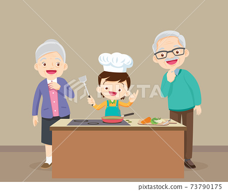 elderly happy looking at child cooking in kitchen 73790175