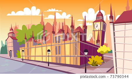 Lodon day cityscape vector cartoon illustration 73790344