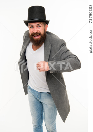 Man bearded guy cheerful face solve problem as magician 73790808