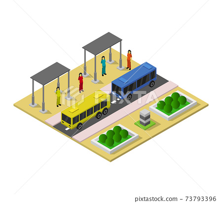 isometric bus station 73793396
