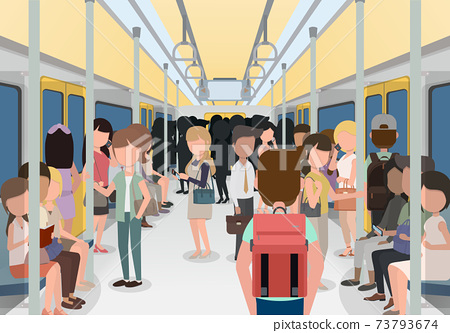 People in the city use the electric train to work.  73793674
