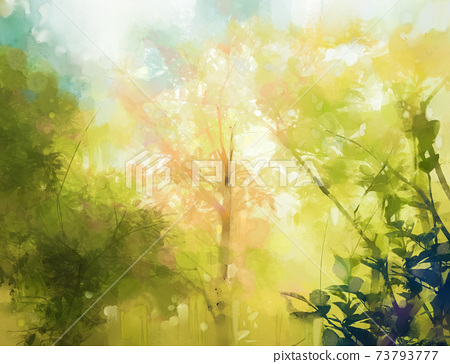 Illustration soft colorful forest and sky. Abstract spring season, outdoor landscape with yellow and green leaf on tree. Nature painting pastel design with watercolor paint. Modern art for background 73793777