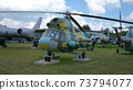 Old military transport aircraft at the military open-air exhibition 73794077