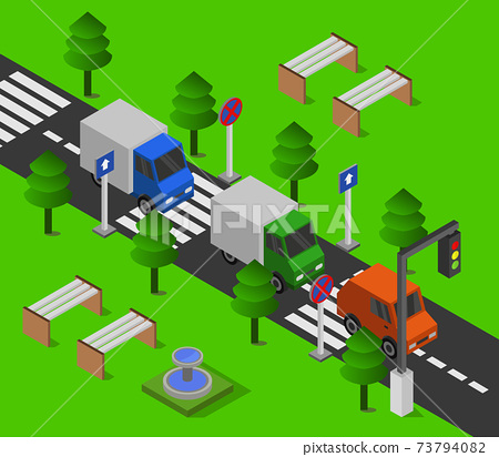 isometric road station 73794082