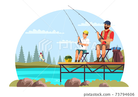 Vector characters father and son camping trip 73794606