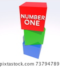 Number one concept on red cube 73794789
