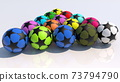 Concept of colorful balls on white 73794790