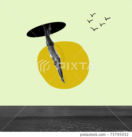 Modern design. Contemporary art. Creative conceptual and colorful collage. Surrealism. 73795032