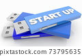 USB flash drive with start up concept 73795635