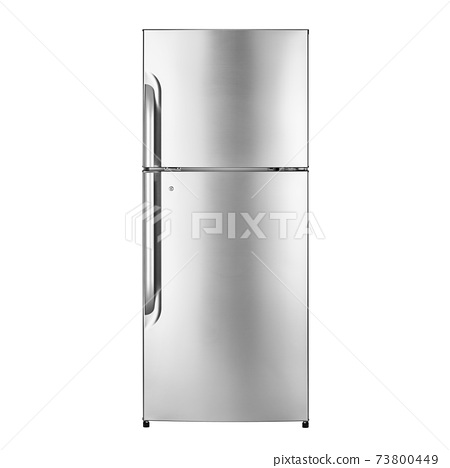 Top Mount Refrigerator Isolated on White Background. Modern Kitchen & Domestic Major Appliances. Freestanding Stainless Steel Side by Side Double Door Full Frost Free Fridge Freezer Side Front View 73800449
