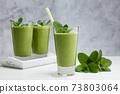Freshly blended green fruit smoothie in glass. 73803064