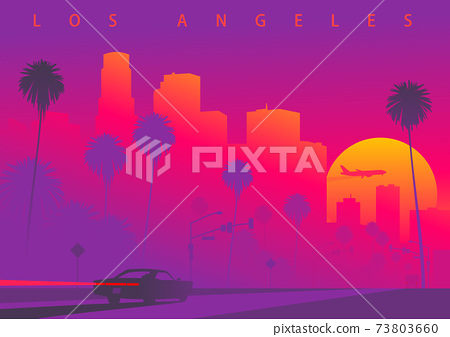 Cityscape of Los Angeles during the sunset with the huge sun 73803660