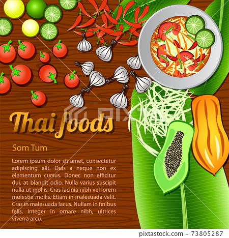 Thai delicious and famous food papaya salad Som Tam and ingredient with wooden background 73805287