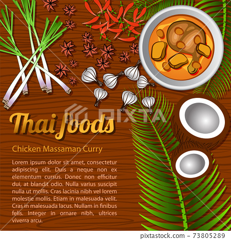 Thai delicious and famous food Chicken Curry Massaman with wooden background and ingredient 73805289