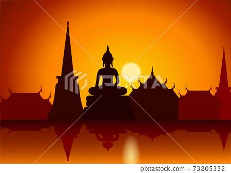 sunset with Thai Buddha temple and riverside.Asian lifestyle 73805332