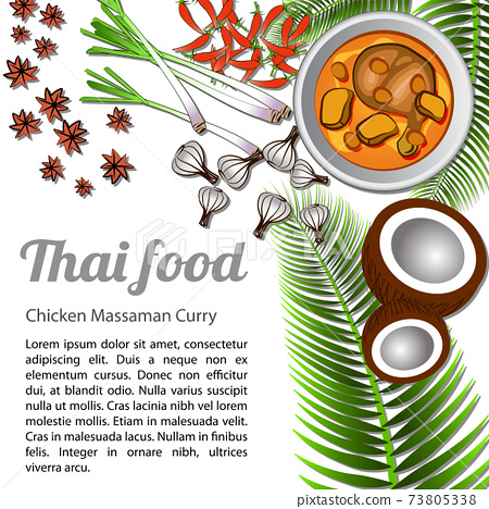 Thai delicious and famous food Chicken Curry or massaman with isolated white background ingredient 73805338