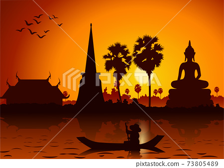 sunset landscape and Buddha Thai temple with a rowing boat around with tree.countryside of east lifestyle 73805489