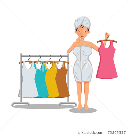 flat design of cartoon character of woman getting dress 73805537