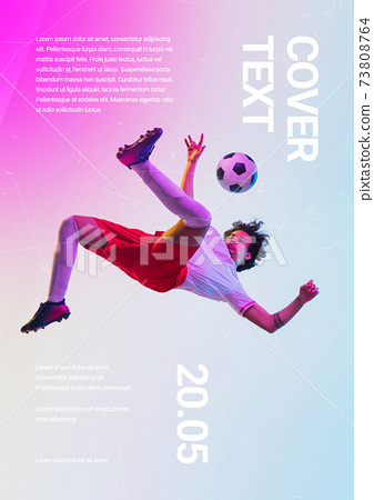 Sport event poster in neoned colors. Template, copyspace for your design 73808764