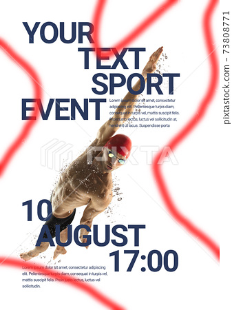 Sport event poster in neoned colors. Template, copyspace for your design 73808771