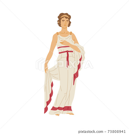 Roman woman in white toga - female cartoon character from Ancient Rome 73808941