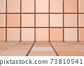 Beige abstract minimal scene with podium. 3d rendering geometric shape. Background for product 73810541