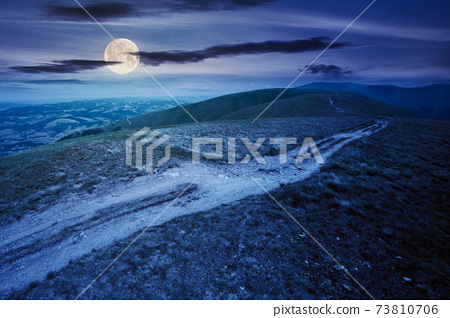 mountain road through grassy meadow at night. wonderful summer adventure in full moon light. clouds on the blue sky 73810706