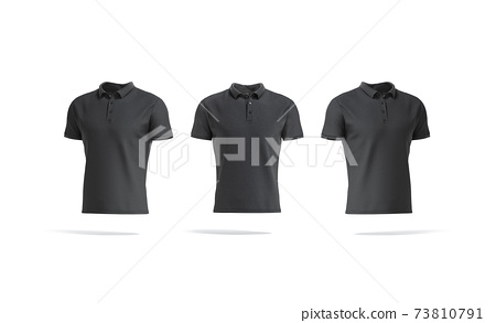 Blank black polo shirt mock up, front and side view 73810791