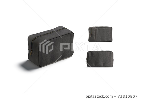 Blank black canvas cosmetic bag mockup, different views 73810807