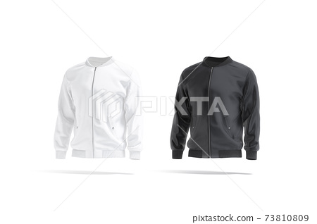 Blank black and white bomber jacket mockup, side view 73810809