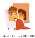 Cute ox sitting in a chair in front of the fireplace with a mug. Little cow. Kawaii bull. 73812100