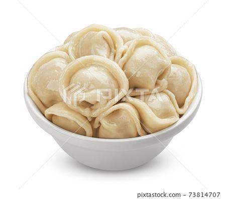 Meat dumplings, pelmeni isolated on white background 73814707