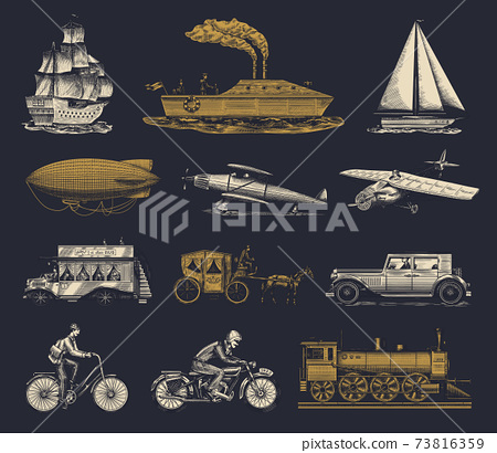 Submarine, boat and car, motorbike, Horse-drawn carriage. Airship or dirigible, air balloon 73816359